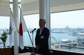 Photo: Mr. Akihiko Hattori, the Executive Vice President of Nagoya Port Authority, gives his inauguration speech.