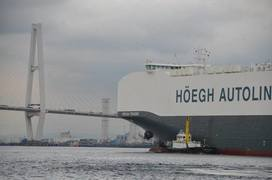 Photo: The HOEGH TRIGGER arrives at the Port of Nagoya.